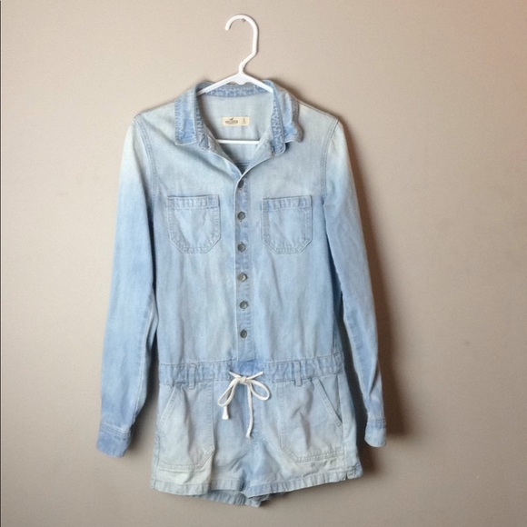 b15c2056f89a5 Hollister Jeans | Light Denim Romper | Poshmark